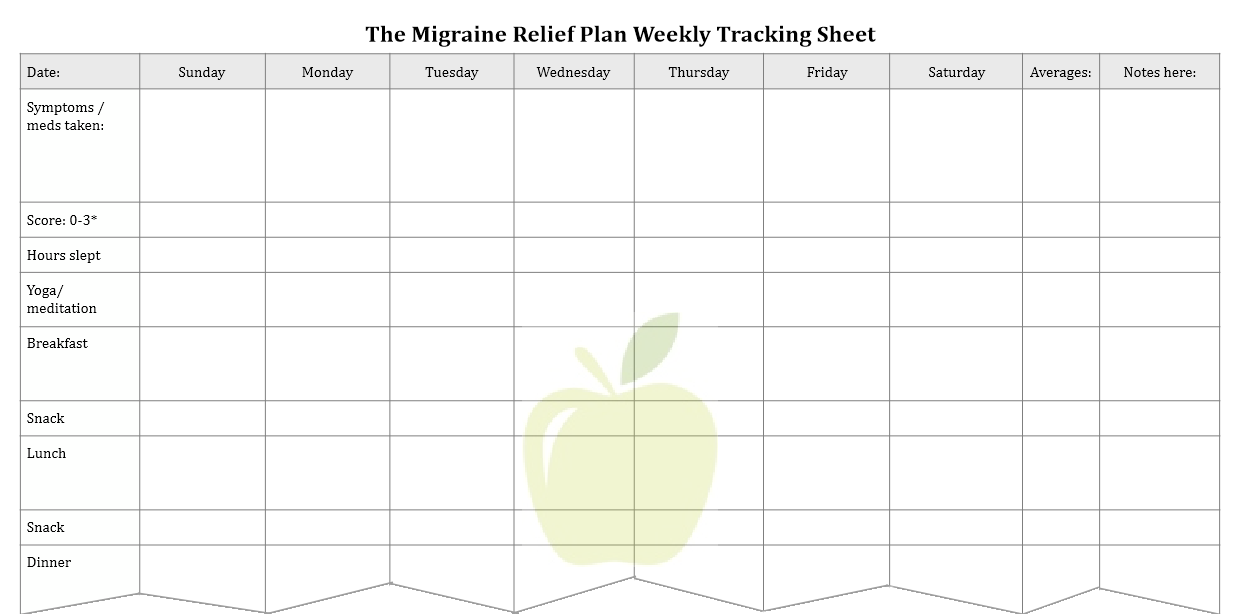 Migraine Relief Plan bonus download tracking sheet