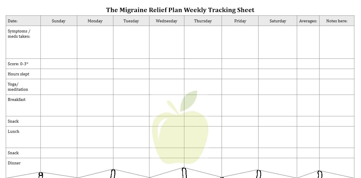 Migraine Relief Plan bonus download tracking sheet