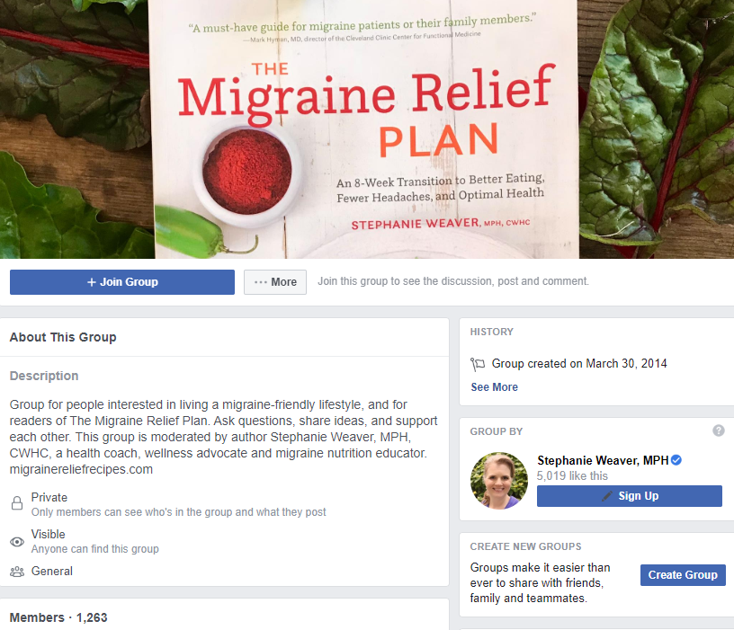 Migraine Support Group on Facebook