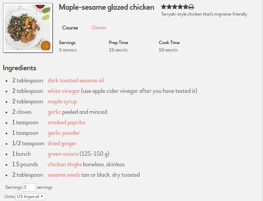 Maple-sesame glazed chicken by Migraine Relief Plan