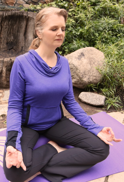 Stephanie Weaver, author, in yoga pose